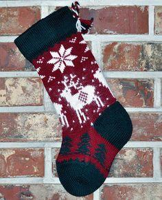 Small Knit Christmas Stocking 100 Wool Angora by AngoraValley