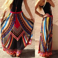 Fashion Women Gypsy Boho Tribal Floral Skirt Maxi Summer Beach Long Casual Dress…