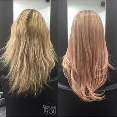 """oVertone on Instagram: """"We are OBSESSED with this subtle rose gold before and after done by @ibrushyou. She used a mix of Pastel Pink and Pastel Orange Daily Conditioners to take this hair from blonde to bold! What do you guys think? Is this gorgeous or what? Tag #overtone to be featured! Pastel Pink and Pastel Orange conditioners are available at oVertone.co. """""""