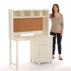 Maximize your space with this compact desk. Add even more functionality on top with our roomy hutch (sold separately) that includes four cubbies and a cork board surface to post pictures, notes, awards and more. Space Saving Desk, Home Office Table, Oversized Furniture, Desk Hutch, Dovetail Drawers, Small Drawers, Cubbies, Cabinet Doors, House Design