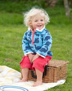 Reversible organic cotton snuggle fleece by Frugi available to buy at www.forthebabyblue.com