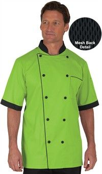 Men's Traditional Half Back Mesh Chef Coat - Fabric Covered Buttons - 65/35 Poly/Cotton Fine Line Twill