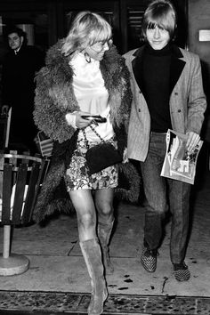 Music, Personalities, pic: circa 1967, Brian Jones of the Rolling Stones group with one time girl friend, Swedish actress Anita Pallenberg  ...link to look book