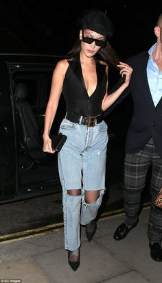 Night on the tiles: The night was still young for Bella as she made a slight outfit change... #bellahadid