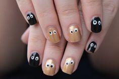 Золотисто-черный маникюр с глазками ::: onelady.ru ::: #nail #nails #nailart #manicure