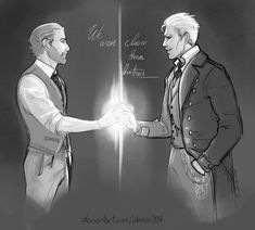 May I just say - Grindelwald and Dumbledore were a thing, whether you like it or not. And if it wasn't romantic, it might as well have been cos they were that damned close. Mundo Harry Potter, Harry Potter Ships, Harry Potter Fan Art, Harry Potter Universal, Harry Potter World, Fantastic Beasts Fanart, Fantastic Beasts And Where, Albus Dumbledore, Jude Law