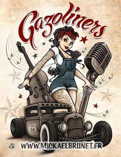 Ideas Tattoo Old School Girl Rockabilly Hot Rods Rockabilly Moda, Rockabilly Tattoos, Rockabilly Pin Up, Rockabilly Fashion, Pin Up Girl Tattoo, Pin Up Tattoos, Girl Tattoos, Tatuagem Pin Up, Tattoo Gesicht