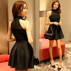 黑色經典性感鏤空削肩洋裝