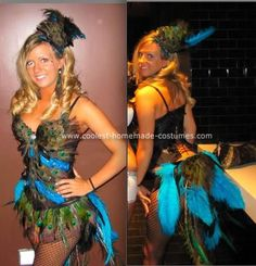 Homemade Peacock Halloween Costume Ideas: Hi, this was my homemade peacock costume worn in Vegas. My girlfriend was a flamingo and I was a peacock. We used hot glue and more feathers. Peacock Halloween, Peacock Costume, Halloween Kostüm, Holidays Halloween, Halloween Decorations, Halloween Costumes, Zombie Costumes, Halloween Couples, Group Halloween