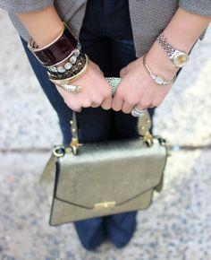 Snake cuff, lacquer bangle, rhinestone bracelets, double watches, Brahmin handbag