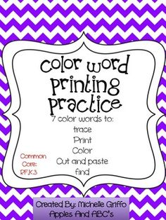 Color word printing practice. Great for kinder!