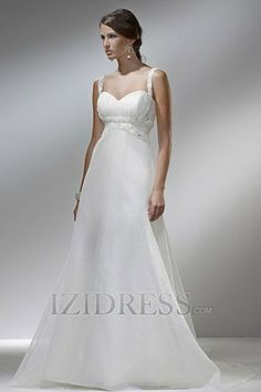 A-Line Empire Spaghetti Straps Chiffon A-Line Wedding Dresses