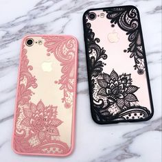 Black and White Lace iPhone 8 Cases - iPhone 7 / 8 Floral henna lace case - Henna flower lace iPhone 7 clear cover in black and white transparent lace case Smartphone Iphone, Iphone 8, Portable Iphone, Coque Iphone, Iphone Phone Cases, Iphone 7 Plus, Cute Cases, Cute Phone Cases, Covers Iphone