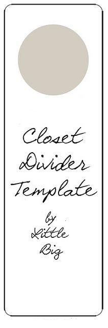 Closet Divider Template by ex.libris, via Flickr