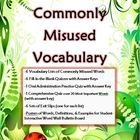Commonly Misused Vocabulary Pack (homophones and other usually misspelled words): A 69 page download for only five dollars!