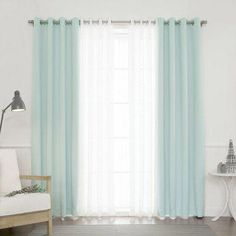 Best Home Fashion Coco Sheer and Solid Blackout Mix & Match Curtain Set - Set of 4 Mint Mint Curtains, Cool Curtains, Grommet Curtains, Sheer Curtains, Blackout Curtains, Panel Curtains, Curtain Panels, Light Blue Curtains, Blackout Panels