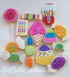 Candyland Party Cookies by ksrose Candy Cookies, Iced Cookies, Cute Cookies, Sugar Cookies, Candy Land Cupcakes, Decorated Cookies, Candy Land Theme, Cookies For Kids, Candy Party