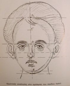 Proportions of Face of Christ Child. After Panselinos. Byzantine Art, Byzantine Icons, Religious Icons, Religious Art, Writing Icon, Paint Icon, Face Icon, Illumination Art, Russian Icons