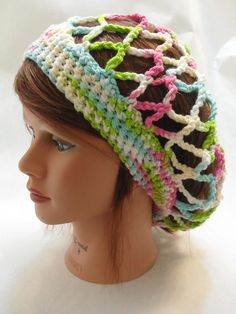 Crochet Mesh Snood Slouchy Hat XSmall / Small por AddSomeStitches