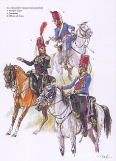 French 2nd Scout Dragoons, trumpet major, trumpeter and officer in full dress.