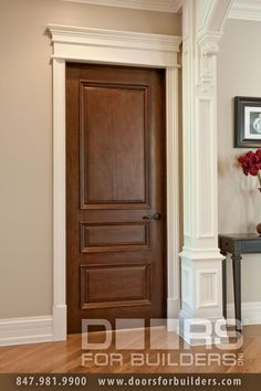 Custom Wood Interior Doors. Single Door Triple Panel with Raied Moldings, Prefinished Pre-hung