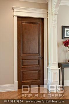 Custom Wood Interior Doors. Single Door Triple Panel with Raied Moldings, Prefinished Pre-hung