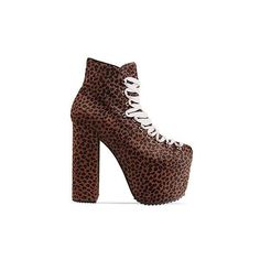 UNIF Hellbound (430 BAM) ❤ liked on Polyvore featuring shoes, leopard, leopard print high heel shoes, high heel platform shoes, leopard platform shoes, leather upper shoes and unif