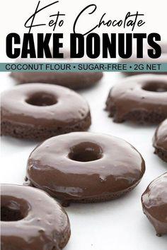 Recipe For Keto Bread In Microwave #KetoFlour Chocolate Cake Donuts, Sugar Free Chocolate, Homemade Chocolate, Chocolate Glaze, Coconut Chocolate, Donut Recipes, Gourmet Recipes, Whole Food Recipes, Keto Recipes