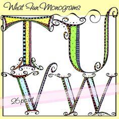 What Fun Monograms - T, U, V, W