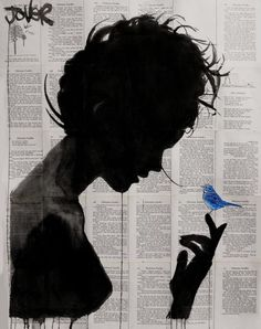 ARTFINDER: Poetica by Loui Jover - a theme I return to often, capturing the beautiful silhouette of a woman and the fragility of the bird.