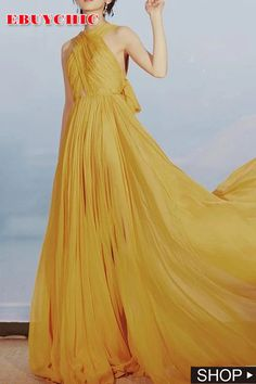 You may love this yellow dress to party, evening and other formal occasion. The main features of the wrap chest dress is the bareback and elegant bowknot. The floor long dress is also tailored with halter and chiffon material. Affordable Evening Dresses, Elegant Dresses For Women, Party Dresses For Women, Sexy Dresses, Fashion Dresses, Summer Dresses, Long Dresses, Elegant Woman, Ladies Dress Design