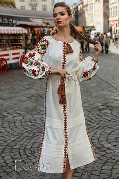 Dress Ukrainian Vyshyvanka Dress Embroidered Women Dress Ukrainian dress Gift for Her Gift for Easte Folk Fashion, Ethnic Fashion, Hijab Fashion, Fashion Outfits, Womens Fashion, Boho Style Dresses, Boho Dress, Nice Dresses, Summer Dresses