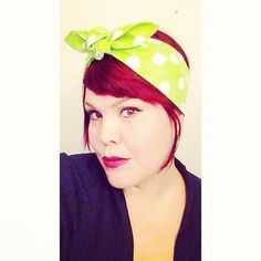 Vintage Inspired Head Scarf Bandana Style Lime by OhHoneyHush, $11.99