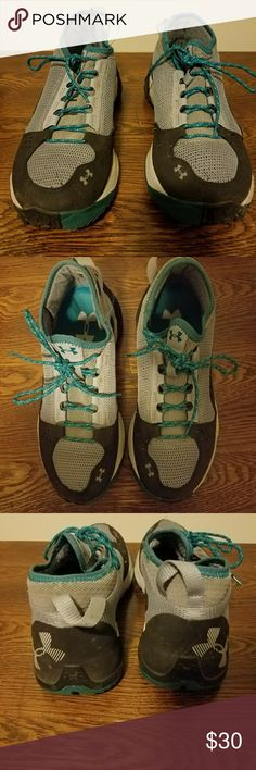 Under Armour Trail Running Shoes Women's 8.5 Grey and teal trail running shoes with some signs of wear, including some frayed threads and scuffs. Only ran in them a few times. Fit more like a 9. Under Armour Shoes Sneakers