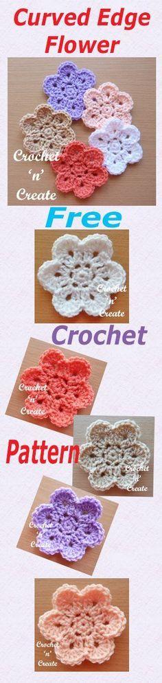 Free crochet pattern for curved edge flower.