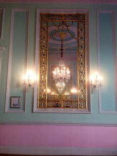 #beautiful #ceiling with #chandelier #pastelcolours #art #painting #golden #mirror