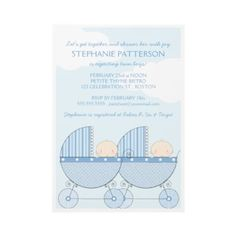 Twin Boy Blue Carriage Happy Baby Shower Invite by kat_parrella