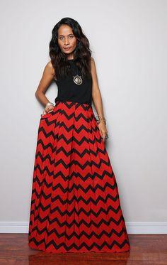 Gorgeous full maxi skirt!  Floor Length Skirt  Chevron Maxi Skirt  Feel Good by Nuichan, $55.00 Women's fashion outfit clothing