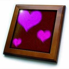 """3 of Purple Hearts - 8x8 Framed Tile by Yves Creations. $22.99. Inset high gloss 6"""" x 6"""" ceramic tile.. Dimensions: 8"""" H x 8"""" W x 1/2"""" D. Cherry Finish. Solid wood frame. Keyhole in the back of frame allows for easy hanging.. 3 of Purple Hearts Framed Tile is 8"""" x 8"""" with a 6"""" x 6"""" high gloss inset ceramic tile, surrounded by a solid wood frame with predrilled keyhole for easy wall mounting."""