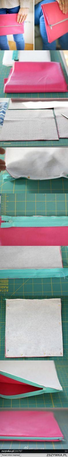 Tutoriel DIY apprendre comment faire par soi même et créer, fabriquer une pochette à main, un sac pochette en cuir ou tissu pour femme.