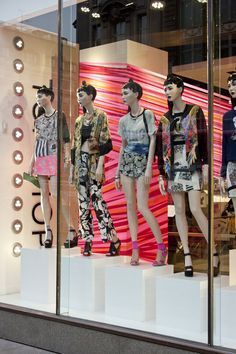 Topshop tape windows by studioXAG, London - dealing with columns in windows