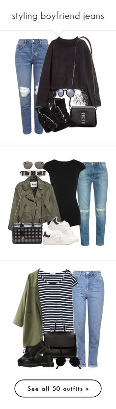 """styling boyfriend jeans"" by camila-echi ❤ liked on Polyvore featuring Topshop, H&M, Proenza Schouler, Rebecca Minkoff, Kyme, Current/Elliott, Esteban Cortazar, Acne Studios, Étoile Isabel Marant and Yves Saint Laurent"