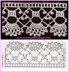 Crochet lace edging DMC, scallops ~~ MIRIA CROCHÊS E PINTURAS: BARRADINHOS DELICADOS