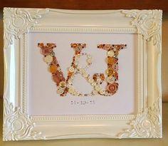 Handmade initial / letter Swarovski crystal / button frame. £44.95 8x10 frame engagement, anniversary , wedding gift. Easy order, see board description.
