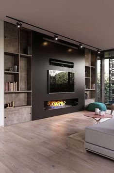 Modern and attractive TV wall design. kamin Modern and attractive TV wall design. Living Room Tv Unit, Living Room With Fireplace, Living Room Modern, Home Living Room, Living Room Designs, Living Room Decor, Tv Wall Ideas Living Room, Fireplace Wall, Wall Fireplaces