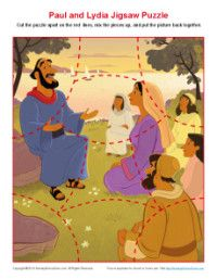 Children's Bible Jigsaw Puzzle Activity - Paul Taught Lydia About Jesus