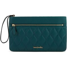 Vera Bradley Quilted Mia Wristlet in Forest Green (225 BAM) ❤ liked on Polyvore featuring bags, handbags, clutches, forest green, quilted leather handbags, wristlet clutches, blue handbags, vera bradley handbags and leather purses