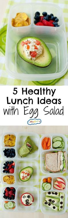 5 easy lunches using egg salad for school or the office. High in protein, vegetarian, and easy to make lunch ideas. (lunch snacks for work) Healthy Lunches For Kids, Snacks For Work, Lunch Snacks, Healthy Meal Prep, Healthy Snacks, Bento Lunchbox, Lunch Foods, Healthy Eating, Dog Recipes