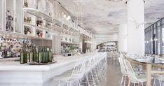 Interior Design by Studio Munge seen at Figo Toronto, Toronto White Restaurant, Cafe Restaurant, Restaurant Design, Restaurant Interiors, Restaurants, Vintage Interior Design, Hospitality Design, Ceiling Design, White Decor