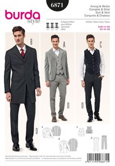 Burda Mens Sewing Pattern 6871 Suit Jackets, Waistcoat & Trousers | Sewing | Patterns | Minerva Crafts